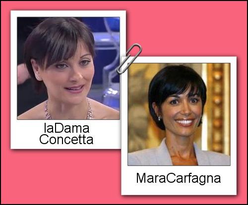 Somiglianza tra la dama Concetta e Mara Carfagna
