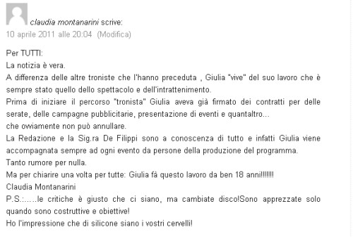 Messaggio di Claudia Montanarini