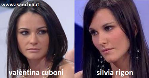 Somiglianza tra Valentina Cuboni e Silvia Rigon