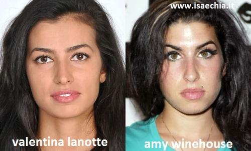 Somiglianza tra Valentina Lanotte e Amy Winehouse