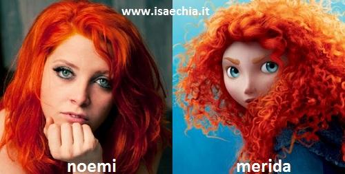 Somiglianza tra Noemi e Merida