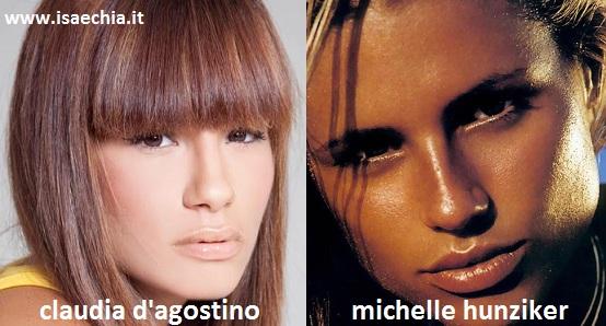 Somiglianza tra Claudia D'Agostino e Michelle Hunziker