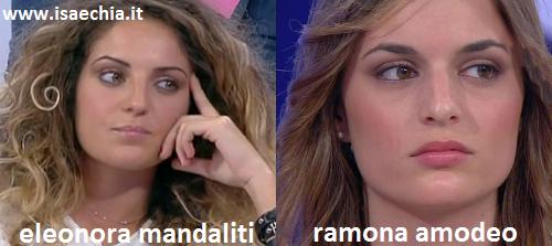 Somiglianza tra Eleonora Mandaliti e Ramona Amodeo