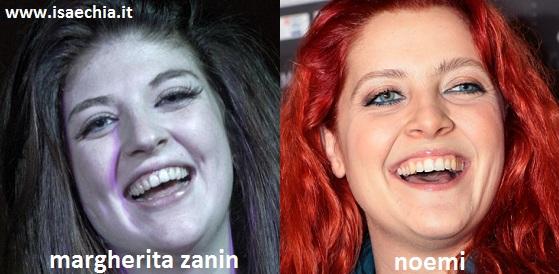 Somiglianza tra Margherita Zanin e Noemi