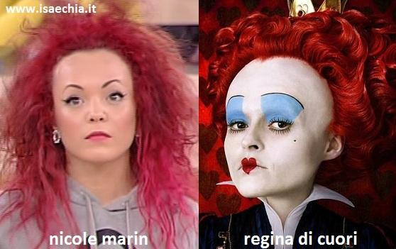 Somiglianza tra Nicole Marin e la Regina di Cuori di 'Alice in Wonderland'