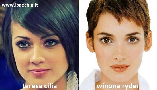 Somiglianza tra Teresa Cilia e Winona Ryder