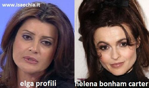Somiglianza tra Elga Profili e Helena Bonham Carter