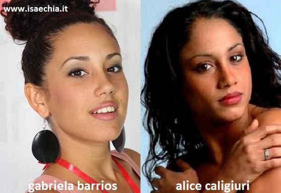 Somiglianza tra Gabriela Barrios e Alice Caligiuri