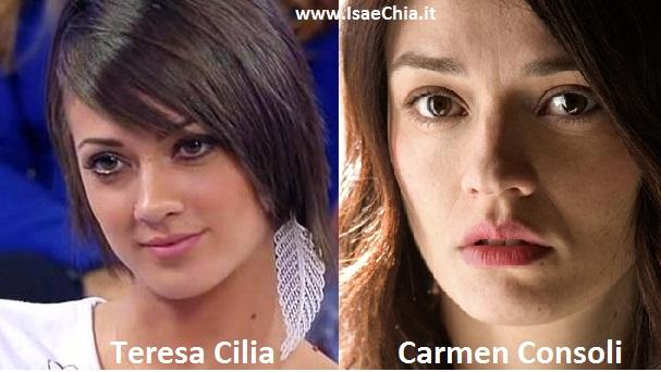 Somiglianza tra Teresa Cilia e Carmen Consoli