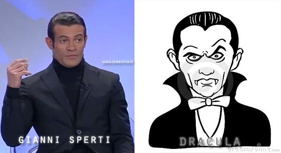 Somiglianza tra Gianni Sperti e il conte Dracula