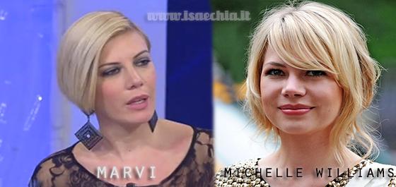 Somiglianza tra Marvi e Michelle Williams