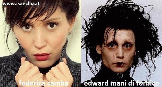 Somiglianza tra Federica Camba e Edward mani di forbice