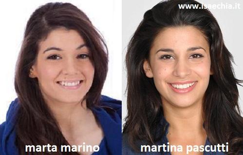 Somiglianza tra Marta Marino e Martina Pascutti