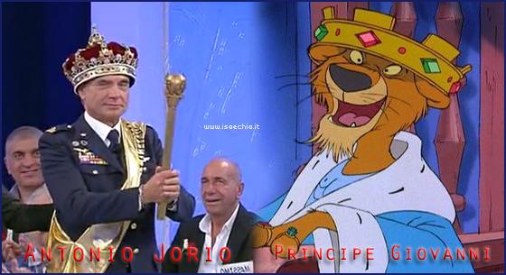 Somiglianza tra Antonio Jorio e il Principe Giovanni di 'Robin Hood'