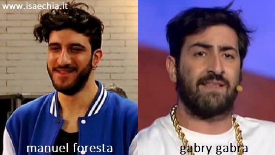 Somiglianza tra Manuel Foresta e Gabri Gabra