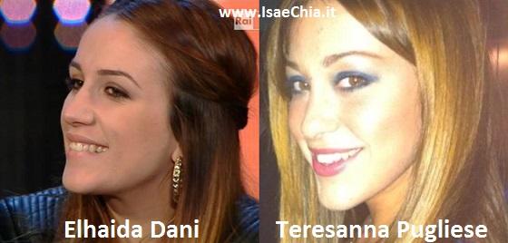 Somiglianza tra Elhaida Dani e Teresanna Pugliese