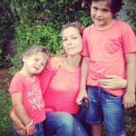 Roberta Ruiu con Filippo e Beatrice