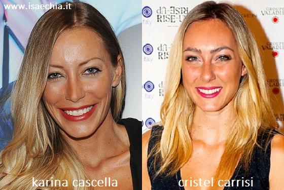 Somiglianza tra Karina Cascella e Cristel Carrisi
