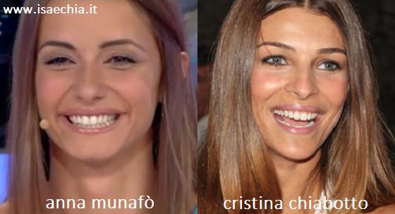 Somiglianza tra Anna Munafò e Cristina Chiabotto