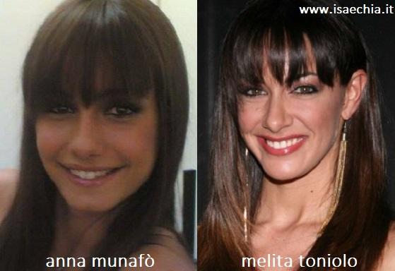 Somiglianza tra Anna Munafò e Melita Toniolo
