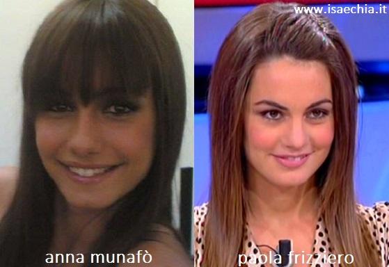Somiglianza tra Anna Munafò e Paola Frizziero