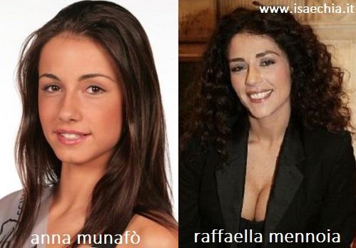 Somiglianza tra Anna Munafò e Raffaella Mennoia