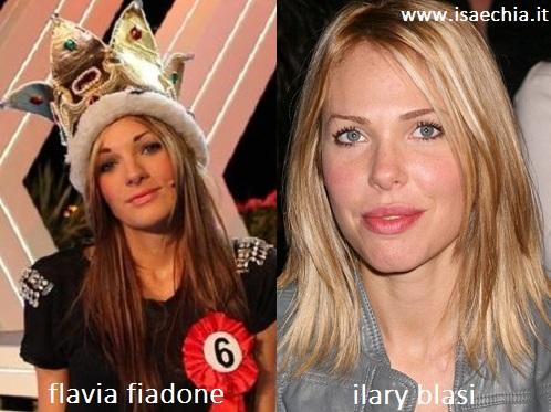Somiglianza tra Flavia Fiadone e Ilary Blasi