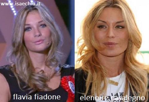 Somiglianza tra Flavia Fiadone ed Elenoire Casalegno