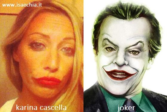 Somiglianza tra Karina Cascella e il Joker