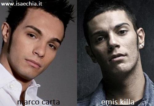 Somiglianza tra Marco Carta ed Emis Killa