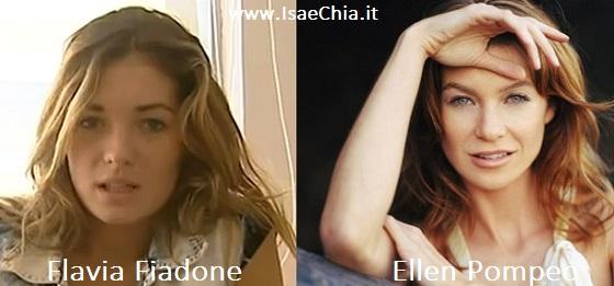 Somiglianza tra Flavia Fiadone ed Ellen Pompeo