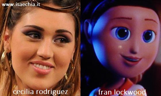 Somiglianza tra Cecilia Rodriguez e Fran Lockwood di 'Piovono Polpette'