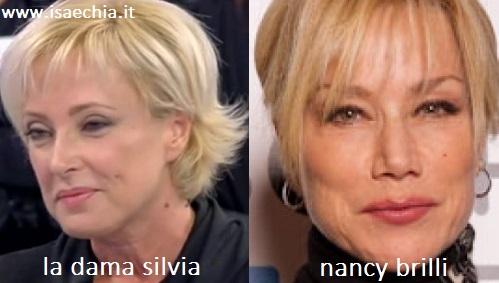 Somiglianza tra la dama Silvia e Nancy Brilli