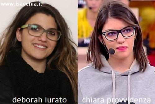 Somiglianza tra Deborah Iurato e Chiara Provvidenza