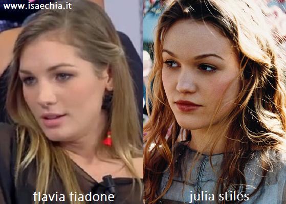 Somiglianza tra Flavia Fiadone e Julia Stiles