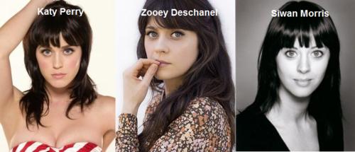 Somiglianza tra Katy Perry, Zooey Deschanel e Siwan Morris