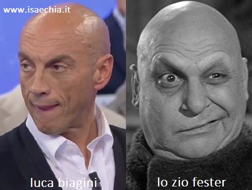 Somiglianza tra Luca Biagini e Fester de 'La famiglia Addams'