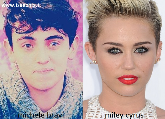Somiglianza tra Michele Bravi e Miley Cyrus