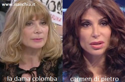 Somiglianza tra la dama Colomba e Carmen Di Pietro