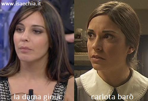 Somiglianza tra la dama Gioia e Carlota Baró