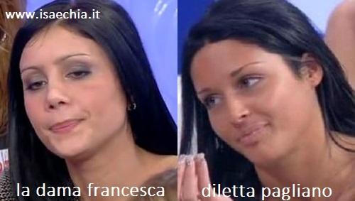 Somiglianza tra la dama Francesca e Diletta Pagliano
