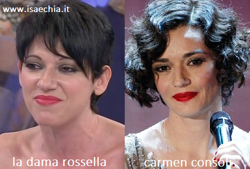 Somiglianza tra la dama Rossella e Carmen Consoli