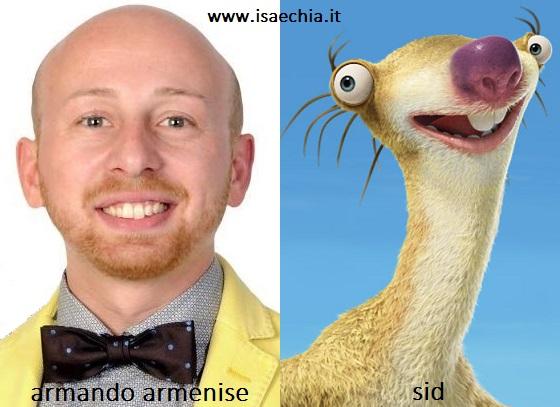 Somiglianza tra Armando Armenise e Sid de 'L'Era Glaciale'