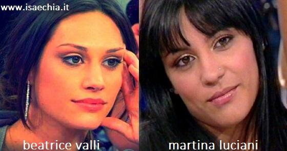Somiglianza tra Beatrice Valli e Martina Luciani