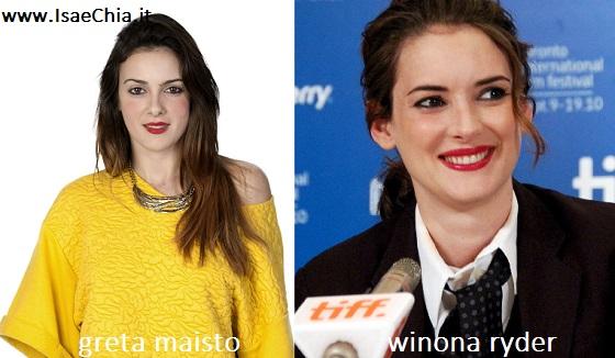Somiglianza tra Greta Maisto e Winona Ryder