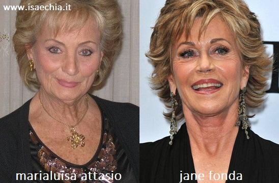 Somiglianza tra Marialuisa Attasio e Jane Fonda
