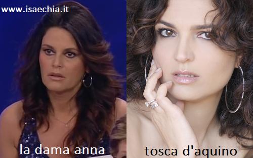 Somiglianza tra Anna, dama del Trono over di 'Uomini e Donne', e Tosca D'Aquino