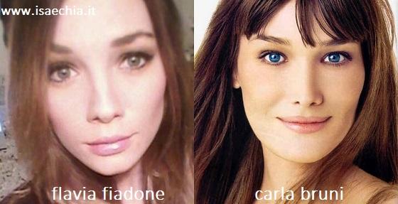 Somiglianza tra Flavia Fiadone e Carla Bruni