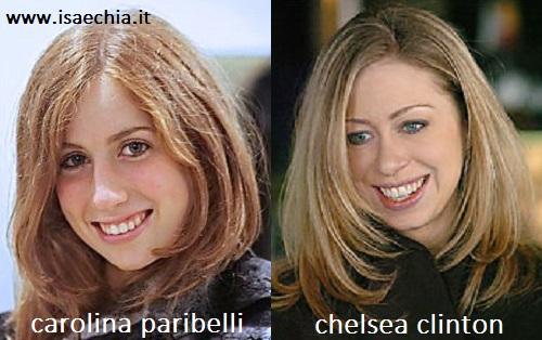 Somiglianza tra Carolina Paribelli e Chelsea Clinton