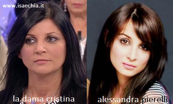 Somiglianza tra Cristina, dama del Trono over di 'Uomini e Donne', e Alessandra Pierelli